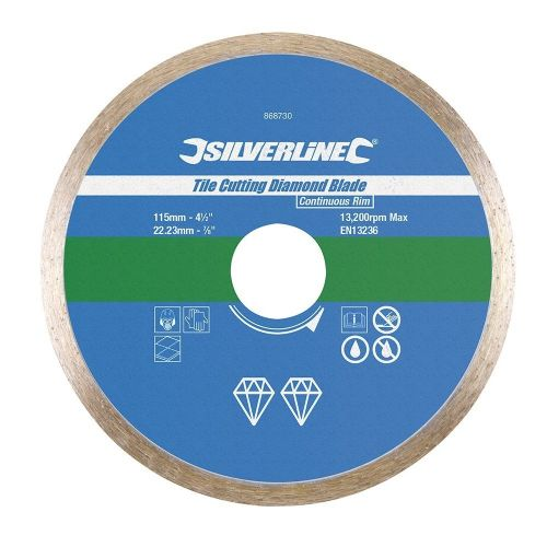 Silverline 868730 Tile Cutting Diamond Blade Disc 115mm x 22.23mm Continuous Rim